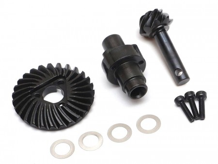 Boom Racing Heavy Duty Keyed Bevel Helical Overdrive Gear 27/8T + Differential Locker Set for AR44 Axle for Axial SCX10
