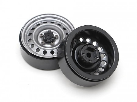 Boom Racing 1.9in Narrow 16-Hole Classic Steelie Reversible Beadlock Wheels (Front) w/ XT504 Hub (2) Gun Metal