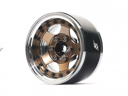 Boom Racing ProBuild™ 1.9in SV5 Adjustable Offset Aluminum Beadlock Wheels (2) Chrome/Bronze